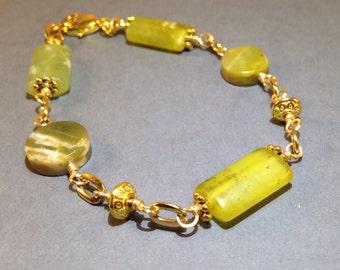 Natural Jade Bracelet - Gold Bracelet - Green Bracelet - Beaded Bracelet - Gift For Her - Statement Bracelet - Gemstone Jewelry - Plus Size