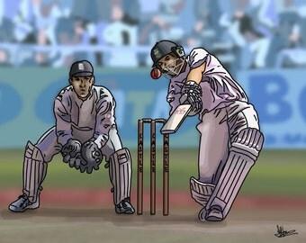 At The Crease - colourful fine art cricket print by Amanda Hone