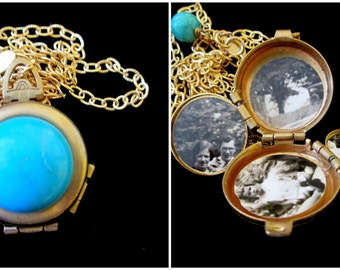 Vintage 4 Picture Locket - Turquoise