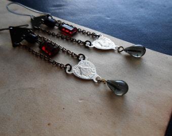 impure - rosary earrings virgin mary earrings repurposed jewelry ruby red rhinestone earrings repurposed earrings mixed metal earrings