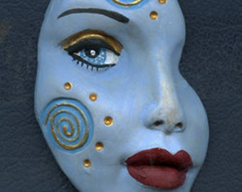 Polymer Clay Blue  textured Abstract Face Shard  BLSH 4