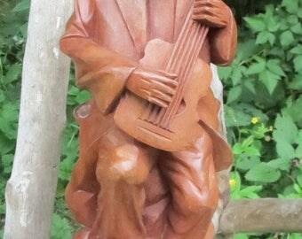 Hand Carved Wood Man Playing Guitar Musician Figure Sculpture Folk Art