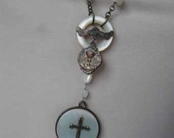 Antique Religous Medal, mother of pearl, repurposed vintage, rosary necklace, cross necklace, one of a kind, upcycled,