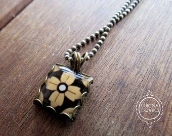 Mexican tile design necklace, pendant, charm, Mexican jewelry, yellow, black