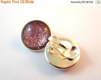 40% SALE Rose Pink Sparkle Clip On Earrings. 15mm. Silver.
