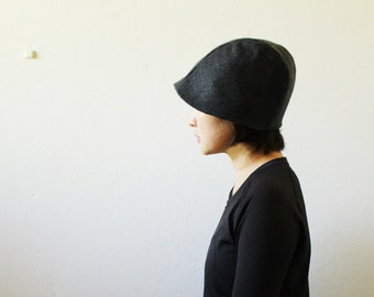 CHARCOAL WOOL HAT / women / beanie / cloche / reversible / linen hat / winter / made in australia / eco friendly / handmade / pamelatang