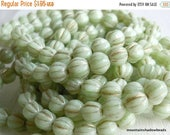50% OFF Melon Beads - 6mm Czech Glass Beads - Stardust Green Gold Picasso (G - 234)