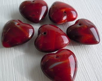 Czech Glass Heart Beads 16mm Red Striped - 6 Beads (G - 61)