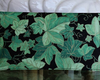 Checkbook Cover Top Tear Cotton Fabric Green Ivy Leaves on Black