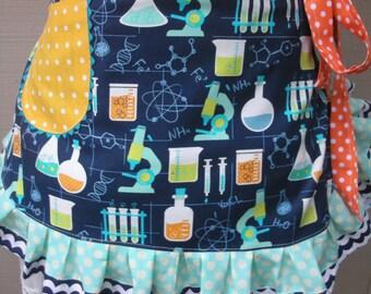 Womens Aprons - Science Teachers Aprons - Science Lab Aprons - Mad Scientist Apron - Handmade Aprons - Annies Attic Aprons - Teachers Aprons