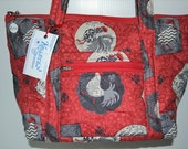 Two Quilted Fabric Handbags Purses Red with Chickens