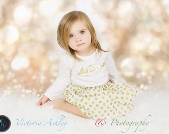 HOLIDAY Christmas OUTFIT in gold polka dots and Personalized shirt in sparkle gold cursive writing --- girls clothing