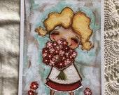 New!  STUDIO DUDA ART mini print/frameable greeting card  on velvety bright paper -Smells Like Spring - 5x7 print