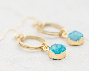 Blue Druzy Quartz Dangle Earrings, Blue Dangle Earrings, Quartz Hoop Earrings