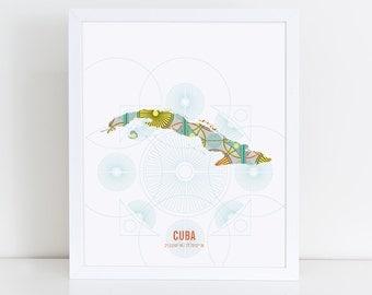 Cuba Map Travel Poster
