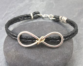 Interlocked INFINITY Braided Leather Cord Bracelet, 14K Solid Gold,Silver, For Him