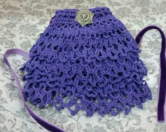Purple Cotton Crochet Jabot Neck Ruffle Cravat Scarf Necktie Victorian Edwardian Steampunk