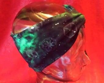 Star Wars Black Green Galaxy Icons Print Cotton/Lycra Stretch Knit Scrunchy Turban Style Wide Headband