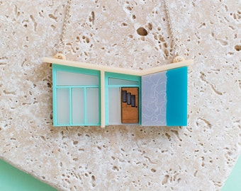 Palm Springs Blue Mid-Century House Necklace - mid-century house - mid century - mid-century jewellery - mid-century modern jewellery