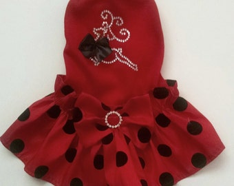 Christmas Dog Tee Dress with a Crystal Reindeer