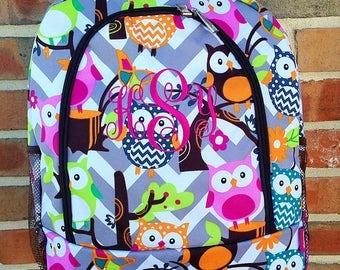 Owl Chevron Backpack - Owl Backpack - Monogram Backpack - Personalized Backpack - Large Backpack - Girl Backpack - Embroidery