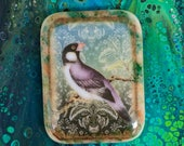 Vintage Style Bird Fused Glass Cabochon