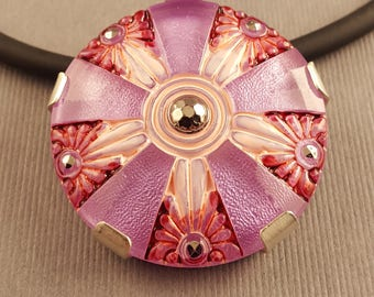 Sterling Silver and Lilac Czech Vintage Glass Button  Pendant