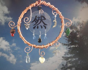 Garden Sculpture, Mobile, Hand Painted Glass, Earth Day, Garden Art, Home Decor, Kanji Symbol, Porch Hanging, Sun Catcher, Mother Nature