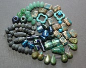 Blue Green and Turquoise Beads Assortment Variety Mixed Lot Destash Beads Aventurine Turquoise Jasper Jewelry Making