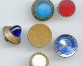 Victorian Buttons Glass (5) DIFFERENT COLORS  Vintage Blue Red Lot Antique 3292