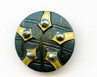 """Victorian Painted Brass Button with Cut Steels Antique Leather Look 15/16"""" 3691"""