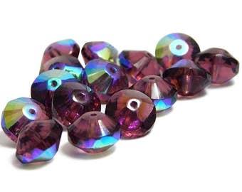 Czech Fire Polished Beads - Rondelle Beads - Czech Rondelle - Rivoli Rondelle - Czech Glass Beads - 15pcs (1103)