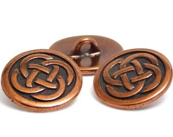 Copper Buttons - TierraCast Button - Celtic Knot - Metal Buttons - Wrap Bracelet Button - 16mm (1523) 2pcs