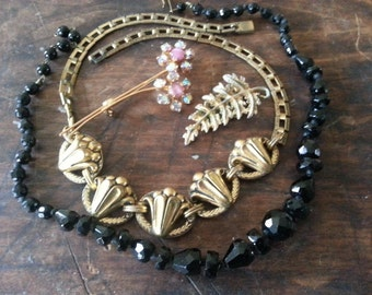 Repurpose Jewelry ... Black Glass Necklace, Book Chain Necklace More ... Jewelry Supply, Steampunk. AS FOUND.