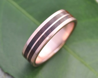 Rose Gold Lados Linea Nacascolo Wood Ring - ecofriendly wood wedding band, 14k recycled rose gold and wood wedding ring, mens wood ring