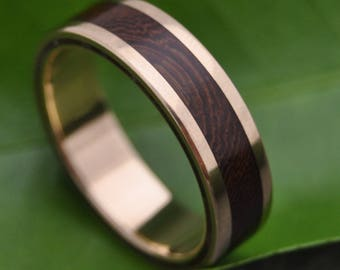 Size 9.75, 7mm READY TO SHIP Yellow Gold Lados Nacascolo Wood Ring - 14k recycled yellow gold and wood wedding ring, mens gold wood ring