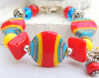 HOT STUFF Handmade Lampwork Bead Bracelet