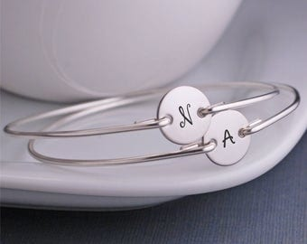 Bangle Bracelet Set, Mother's Day Jewelry, FOUR Personalized Mom Initial Jewelry Gift, Simple Mother Jewelry, Custom Bangle Bracelets