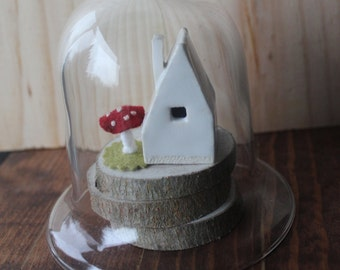 Tiny House with Felt Mushroom - handmade pottery, hand-sewn felt shroom, desk ornament, table display, place card setting