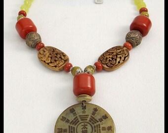 TIBETAN CALENDAR - Handcarved Jade Pendant - Handmade Tibetan & African Beads - Korean Jade Necklace