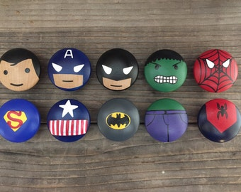 Superhero bedroom drawer pulls, dresser knobs, superhero design
