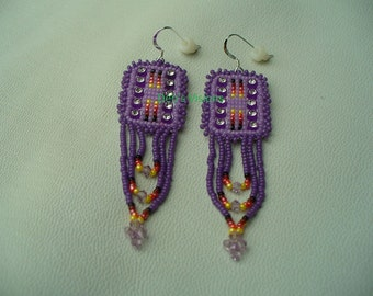 Native American Style loom Stitched Rhinestone banding loop fringed earrings in African Violet and Iris