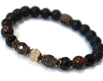 LAVA Gemstone Oil Diffuser Wellness bracelet, Strength, Self Confidence, Positive, Happy, Stretch bracelet, Well-being, Crystal energy