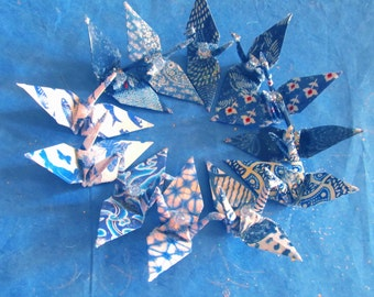 International Indigo Peace Crane Party Favor Origami Ornament Wedding Cake Topper Japanese Bird Place Card Holder  Blue Navy Good Deal Set