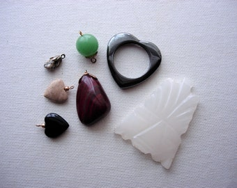Pretty Lot of Various Vintage Semi Precious Stone Pendants-Charms