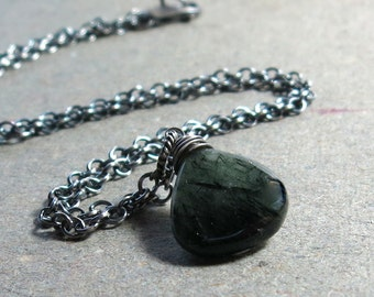 Green Rutilated Quartz Necklace Gemstone Pendant Oxidized Sterling Silver Gift for Mom