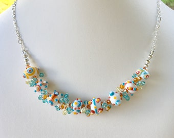 Swarovski Crystal and Lampwork Beaded Sterling Silver Necklace  handmade  srajd fiesta holiday
