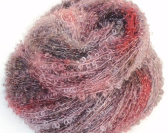 Berry Patch, Hand Dyed, Hand Painted, Looped, Mohair, Yarn