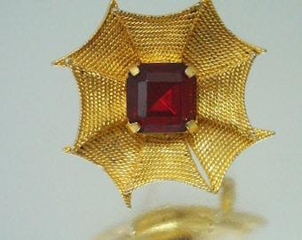 Gold Tone Web Brooch Red Rhinestone Pin