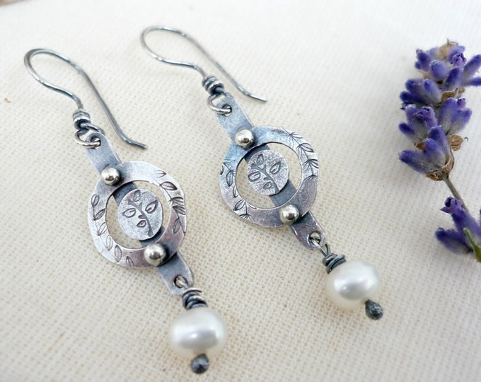 Sterling Silver Hand Stamped Botanical White Freshwater Pearl Dangle Earrings (Point of it All)